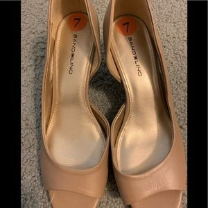Nude  2inc heels open toe by Bandolino